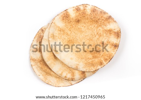 Flatbreads. Arab Bread isolated on white background Stockfoto ©