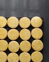 Flatlay of sable Breton biscuits or french butter cookies