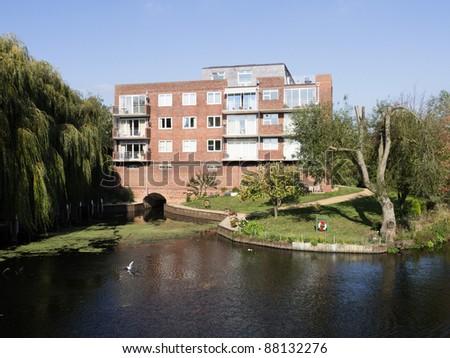 flats apartments alongside river avon stratford upon avon warwickshire the midlands england uk