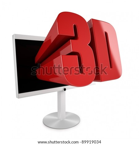 Flatscreen TV with 3D stereocopic feature and 3D logo reaching out