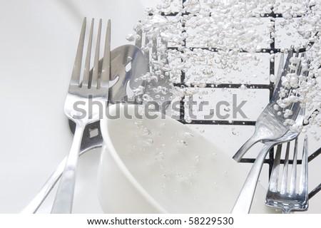 Flatware washing in fresh water