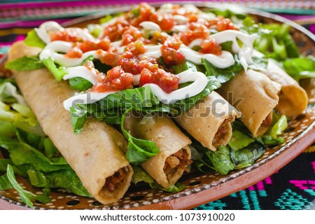flautas de pollo, chicken tacos and spicy Salsa Homemade Mexican food in mexico city  #1073910020