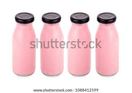 flavor of milk in bottles isolated on white background #1088412599