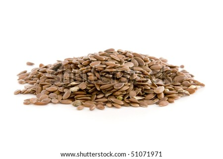 Flax seed, isolated on white background.