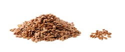 Flax seeds heap isolated on white