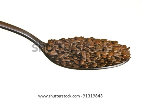 Flax seeds in a spoon isolated over white background