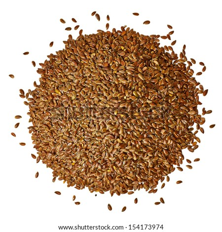 Flax seeds pile from top on white background