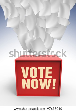 Flaying paper over voting box ilustrated in 3 dimension