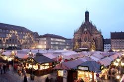 Flea Market at night in Neurenburg.  Movement on people walking.