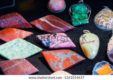 Flea market, natural stones, semiprecious stones, semi-precious, denoting minerals that can be used as gems but are considered to be less valuable than precious #1261014637