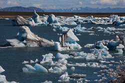fleet of icebergs in Jokulsarlon Glacier Lagoon (Iceland)