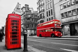 Fleet street, London, UK, selective color red