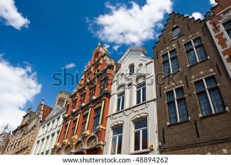 Flemish houses facades in Brugge, Belgium - stock photo