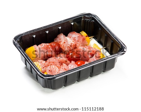 Flesh meat product for cooking packed in box isolated on white