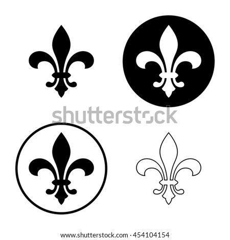 Fleur De Lis Or Lily Flower Icon Set Royal French Heraldic Symbol