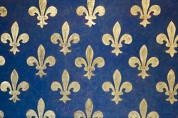 Fleur-de-lis Pattern painted on a wall in Palazzo Vecchio - a museum in Florence, Italy. It is one of the oldest and most famous art museums of the Western world.