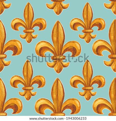 Fleur de lis seamless pattern in mixed media Photo stock ©