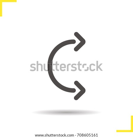 Flexible arc arrows glyph icon. Drop shadow silhouette symbol. Negative space. Raster isolated illustration