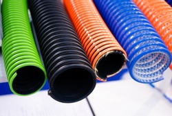 flexible duct hose tubing multicolor used in industrial applications.close-up.
