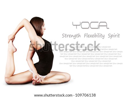 Flexible girl doing yoga pose over white background