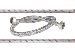 Flexible metal hose isolated on white , clipping path included for design