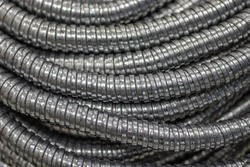 Flexible silver metal conduits or Metallic conduits pipe for protect cables or the electrical wire in the wiring system
