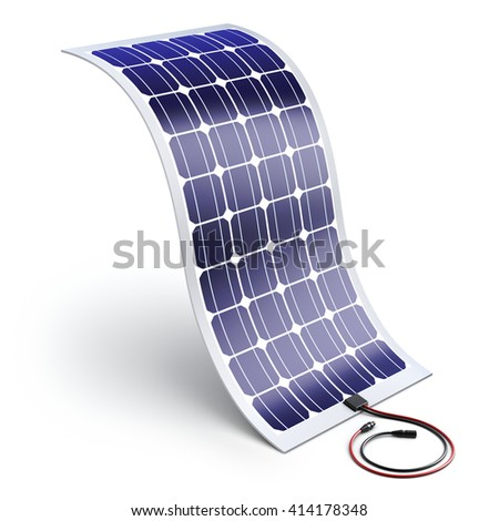 Flexible solar panel - 3D illustration