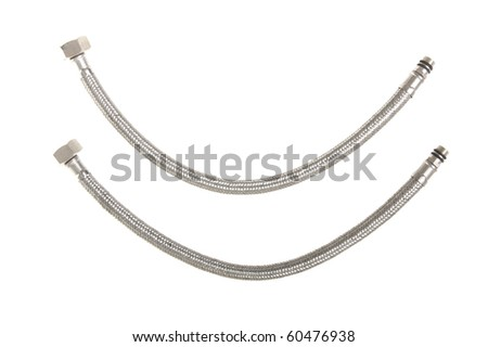 Flexible tube for water in a metal braid on a white background