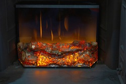 Flickering Effects Ceramic Wood Logs in Electronic Firebox