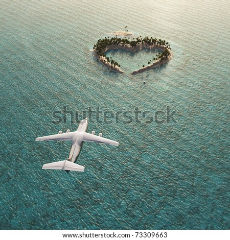 flight above heart-shaped tropical island