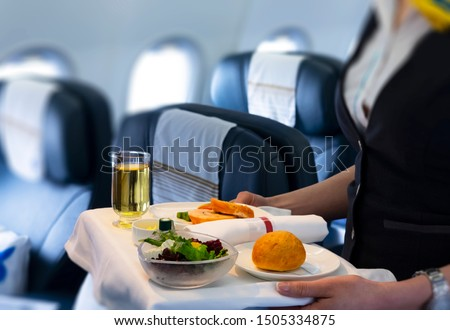 flight attendant serving meal in an airplane  ストックフォト ©