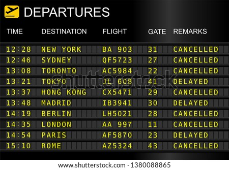 Flight departures board isolated on white background. Cancelled and delayed flights