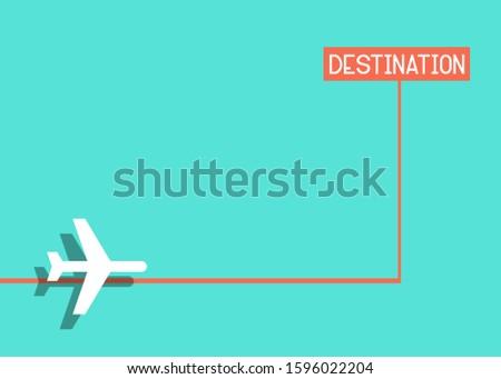 Flight destination, plan with a destination mark, green baxkground