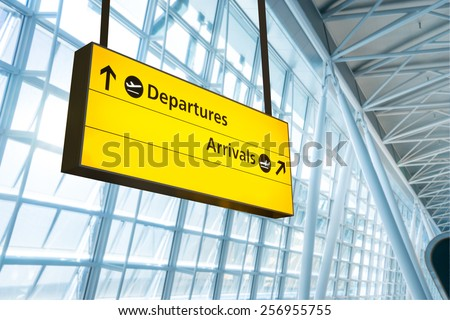 Flight information, arrival and departure board at the airport