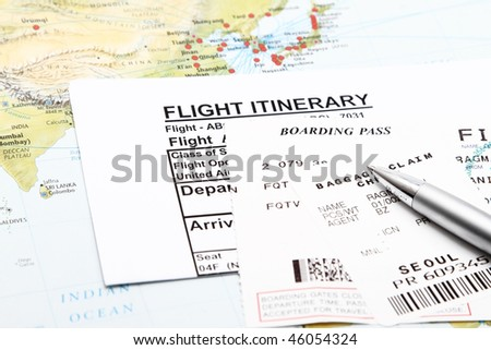 Flight Itinerary,boarding pass and baggage claim.