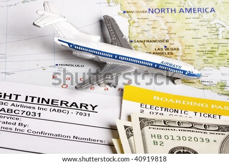 Flight itinerary to usa with toy airplane and map of usa.