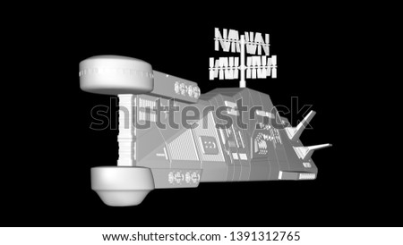 Flight of the spacecraft on a dark background. 3D rendering.Coloring object.