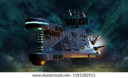 Flight of the spacecraft on a dark space background. 3d render