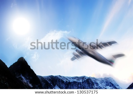 flight over the bulgarian mountain- abstract travel image