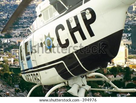 flight over the city in a chopper