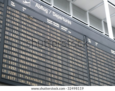 flight plan, departure section at the munich airport