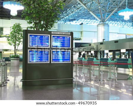 Flight schedule and check-in counter in airport