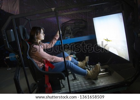 Flight simulator. Aviation game simulator
