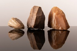 Flint cores from the stone age. From the Paleolithic period and Acheulean culture. Sahara desert.
