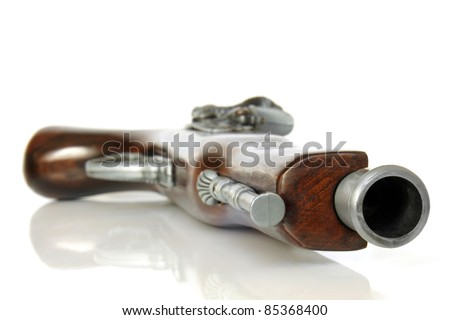 Flintlock pistol on white background