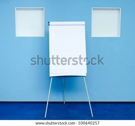 flip chart in conference room at hotel ready for business training
