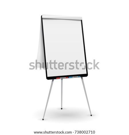 Flip Chart . Office Whiteboard For Business Training. Isolated Illustration