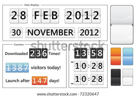 flip display date counters, clocks and counters