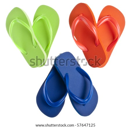 Flip Flop Sandals in Heart Shapes for Summer Love Concepts.