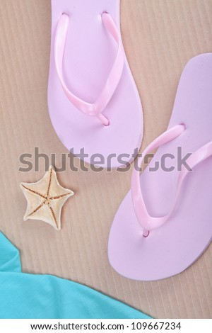 Flip-flops and starfishes, imitation of the beach
